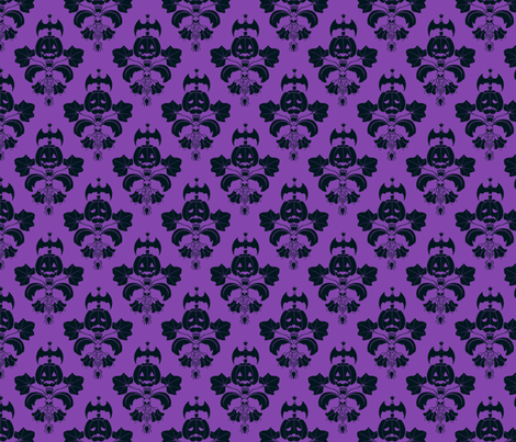 Jack O Lantern Damask Purple/Black fabric by pi-ratical on Spoonflower - custom fabric