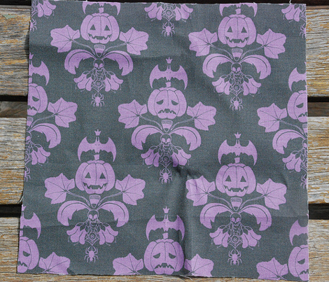Jack O Lantern Damask Black/Purple
