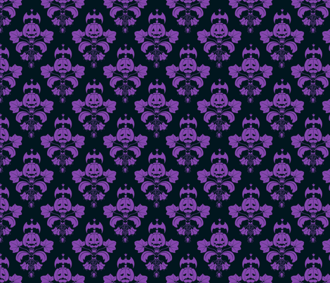 Jack O Lantern Damask Black/Purple fabric by pi-ratical on Spoonflower - custom fabric