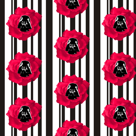 Vader Red Rose on Black n White Stripes fabric by smuk on Spoonflower - custom fabric
