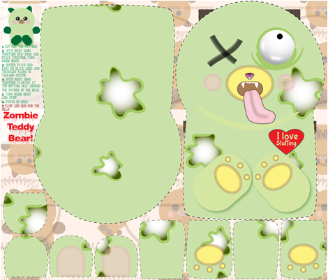 Zombie Teddy Bear fabric by bbsforbabies on Spoonflower - custom fabric
