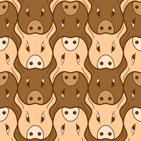 pig head 2 fabric by sef on Spoonflower - custom fabric