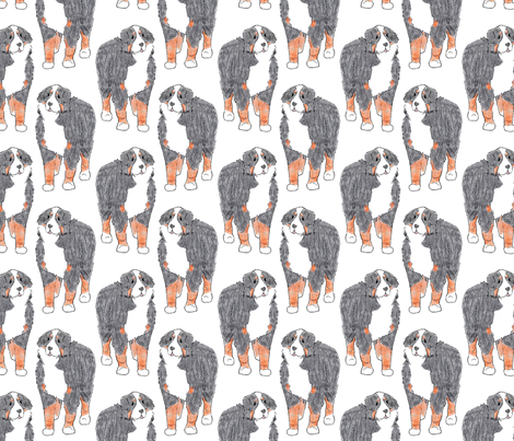 Standing Bernese mountain dog sketch fabric by rusticcorgi on Spoonflower - custom fabric