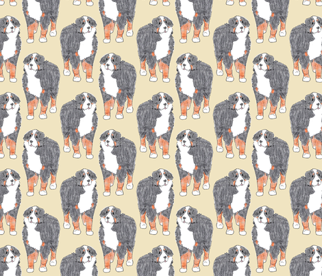 Standing Bernese mountain dog sketch - tan fabric by rusticcorgi on Spoonflower - custom fabric