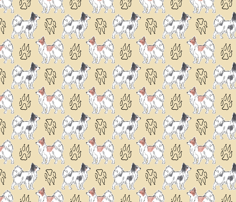 Posing Papillons and paw prints - tan fabric by rusticcorgi on Spoonflower - custom fabric