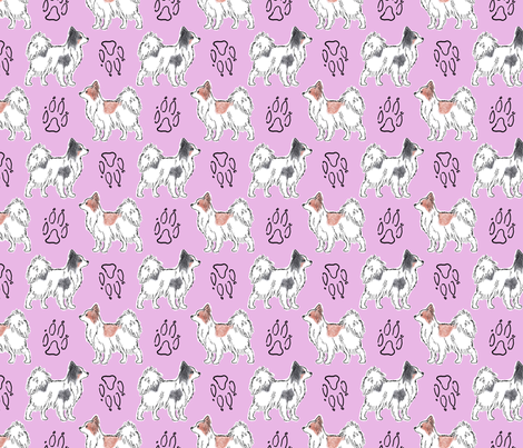 Posing Papillons and paw prints - pink fabric by rusticcorgi on Spoonflower - custom fabric