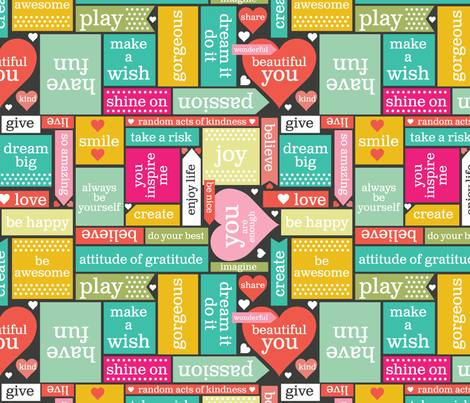 Hello I Love You- Stickies fabric by cynthiafrenette on Spoonflower - custom fabric