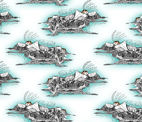 Nature's Cauldron - Volcanic Island Seascape fabric by rhondadesigns on Spoonflower - custom fabric