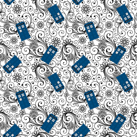 Tardis on floral swirl fabric by risarocksit on Spoonflower - custom fabric