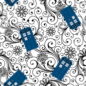 Tardis on floral swirl