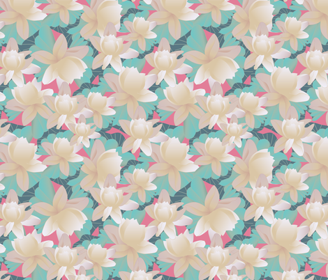 lotus on pink fabric by kociara on Spoonflower - custom fabric