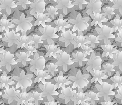lotus desaturated fabric by kociara on Spoonflower - custom fabric