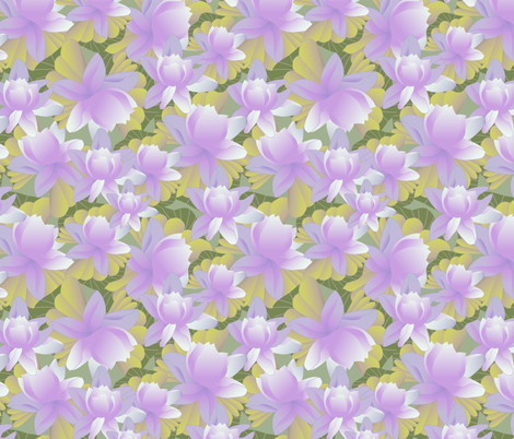 lotus in purple fabric by kociara on Spoonflower - custom fabric