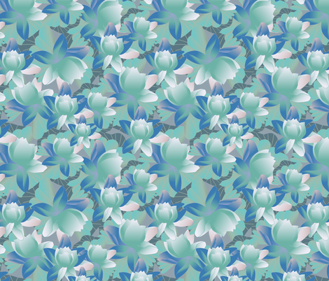 lotus in green fabric by kociara on Spoonflower - custom fabric
