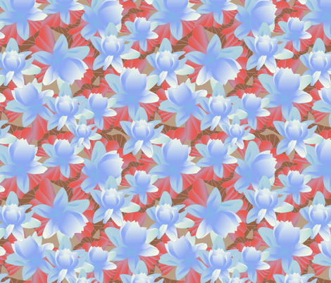 lotus in blue fabric by kociara on Spoonflower - custom fabric