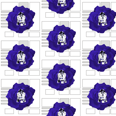 R2 Blue Flower on White Droid Pattern