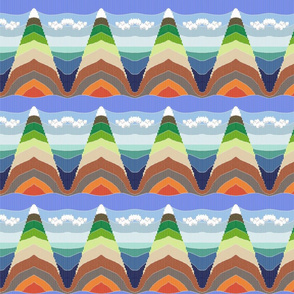 From Mount Everest to the Mariana Trench - faux Bargello