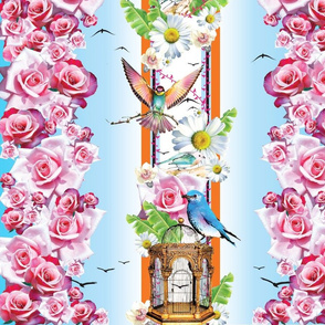 Border print with roses & birds