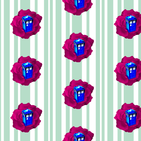 Tardis Purple Rose on Stripes fabric by smuk on Spoonflower - custom fabric