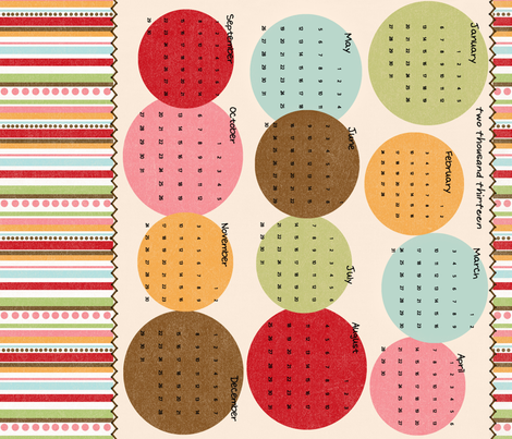 Two Thousand Thirteen Tea Towel Calendar fabric by jpdesigns on Spoonflower - custom fabric