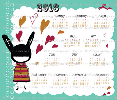 bunny girl 2013 tea towel calendar