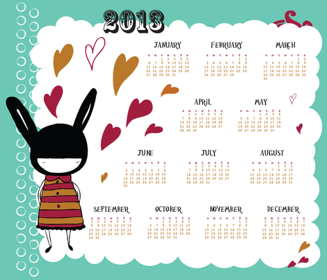 bunny girl 2013 tea towel calendar   fabric by marcia_andrea on Spoonflower - custom fabric