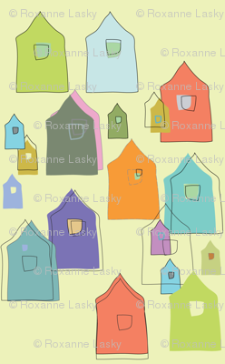Houses_Oranges,, Blues, Lime, Sage