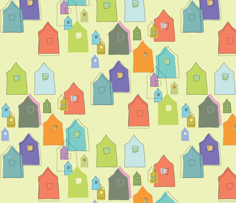 Houses_Oranges,, Blues, Lime, Sage fabric by roxanne_lasky on Spoonflower - custom fabric