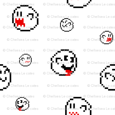 Mario Pixel Ghosts White