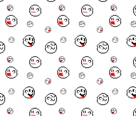 Mario Pixel Ghosts White fabric by forgotten_fortune on Spoonflower - custom fabric