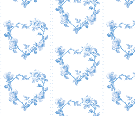 Swedish Folk Heart Wreath in Blueberry Blue fabric by lilyoake on Spoonflower - custom fabric