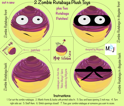 zombie rutabagas plush toy 2 fabric by mojiarts on Spoonflower - custom fabric