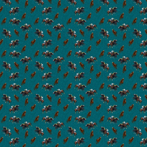 Carriage Trade Faster - Thoroughly Thoroughbreds Print - Turquoise