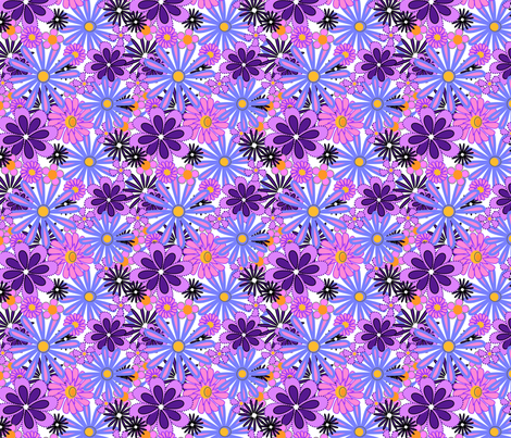 purple flowers lush fabric by mojiarts on Spoonflower - custom fabric