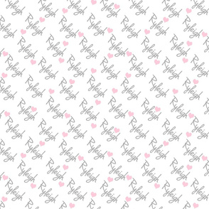 Personalised Name Fabric - Diagonal Hearts Pink Grey Medium