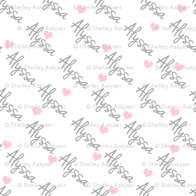 Personalised Name Fabric - Diagonal Hearts Pink Grey Medium
