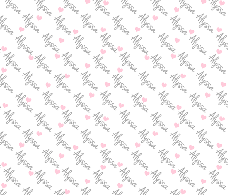 Personalised Name Fabric - Diagonal Hearts Pink Grey Medium fabric by shelleymade on Spoonflower - custom fabric