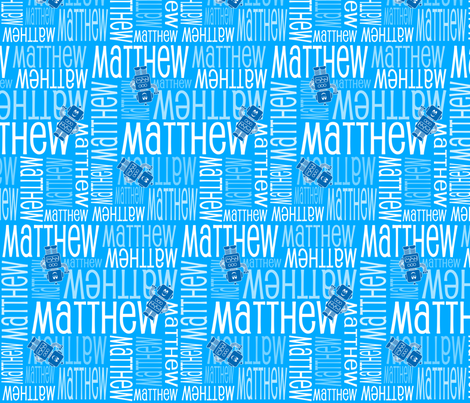 Personalised Name Fabric -  Blue Robots
