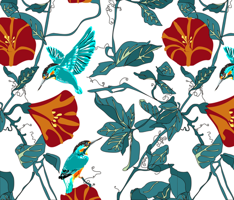 Kingfisher_larger fabric by mj_designs on Spoonflower - custom fabric