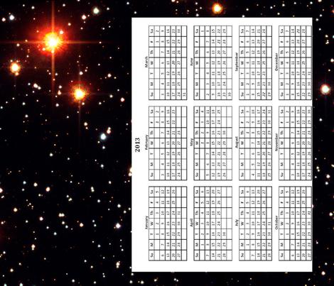 Planetary Host Star Tea Towel 2013 Calendar fabric by datawolf on Spoonflower - custom fabric
