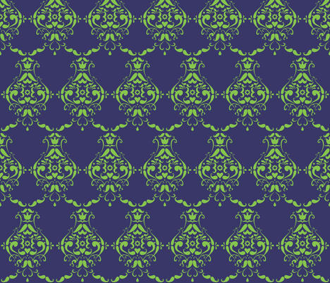 Lime and Navy Moustache Damask fabric by crowlands on Spoonflower - custom fabric