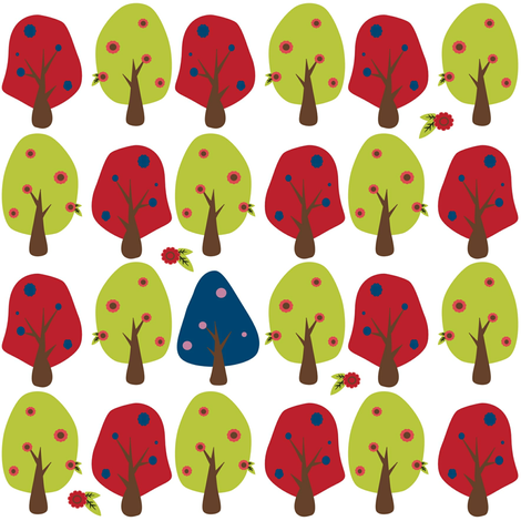 Cheerful Forest with Blue Tree fabric by cutekotori on Spoonflower - custom fabric