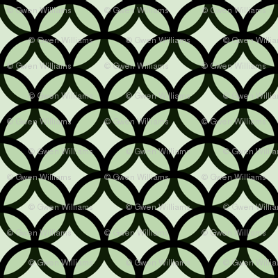 circles diamonds moss green