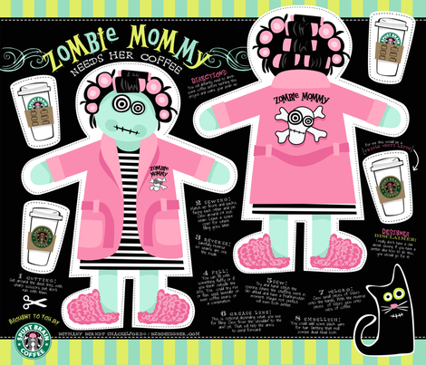 ZOMBIE MOMMY needs her coffee fabric by bzbdesigner on Spoonflower - custom fabric