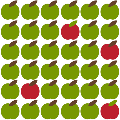 Granny Smith with a hint of Red Delicious fabric by cutekotori on Spoonflower - custom fabric