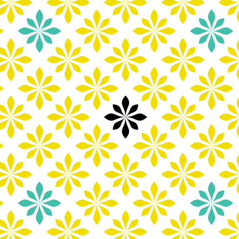retro flowers yellow and turquoise