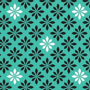 retro flowers turquoise