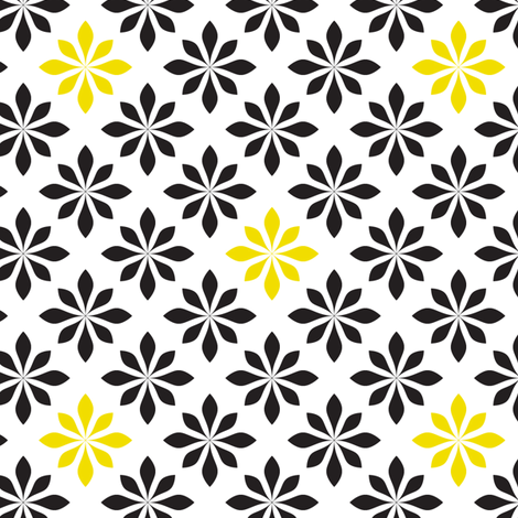 retro flowers yellow and black fabric by ravynka on Spoonflower - custom fabric