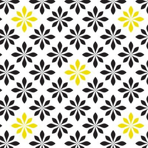 retro flowers yellow and black