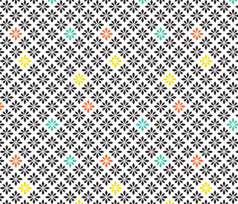 stylized florals retro colors fabric by ravynka on Spoonflower - custom fabric